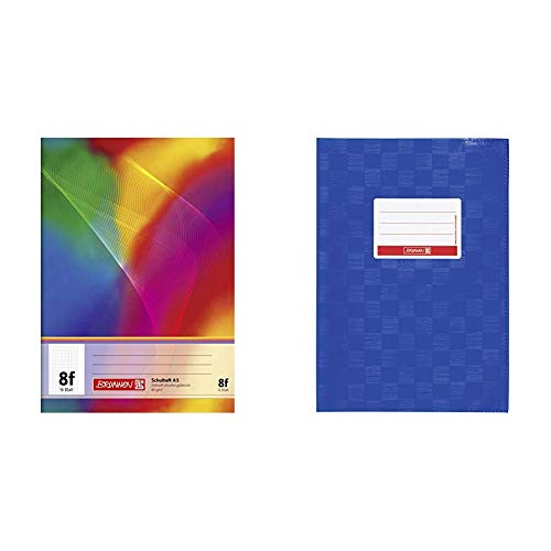 Brunnen 104590802 Schulheft A5 (16 Blatt, 5 x 7 mm rautiert, mit Rand) & 104052536 Hefthülle/Heftumschlag (A5, Folie, mit Namensschild) blau