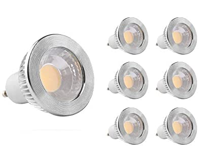 "GOOLSUN 5-watt GU10 LED COB Flood Bulb, Dimmable, 90° Beam Spread, 50-watt Equivalent, 500 lumens, CRI 80+, AC 120V, 2.4"" Length, 6-Pack"