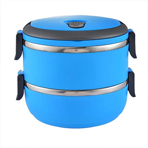 weichuang Lunch Box School Lunch Box Stainless Steel Bento Box Lunch Thermos Food Storage Container Lunchbox 5 Colors Thermal Container Box Lunch Box (Color : Blue, Number of Tiers : One layer)