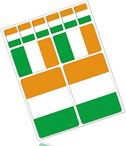 Biomar Labs® 10 x Vinyl Aufkleber Autoaufkleber Stickers Fahne Flagge Ireland Irland Irisch Irländisch Auto Moto Motorrad Fahrrad Scooter Fenster D 29