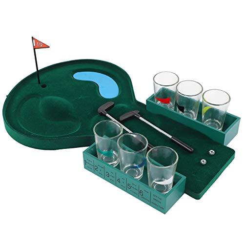 Ponacat Mini Mesa de Golf Juego para Beber con Vaso de Chupito Juego de Juego para Beber de Vidrio Juego para Beber de Escritorio Juguetes de Pelota para Oficina Barra de Piso