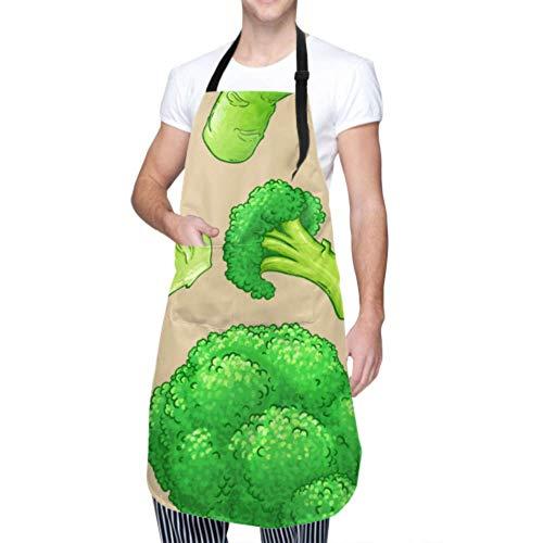 DUKAI Unisex Schürze, wasserdicht langlebig verstellbar Brokkoli Muster Kochschürzen Grill Schürze zum Geschirrspülen Grill Grill Restaurant Garten