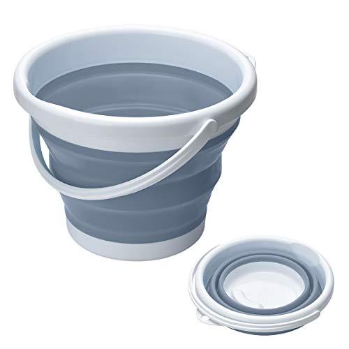 Songway Faltbarer Silikon-Kunststoff-Eimer, platzsparender Eimer für die Reinigung zu Hause, Camping, Angeln, Garten und Reisen, tragbarer Wasserbehälter (Grau, 5 l)