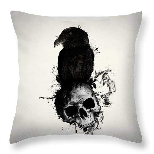 Lplpol Funda de cojín cuadrada de lino y algodón, diseño de cuervo y calavera, 40,6 x 40,6 cm