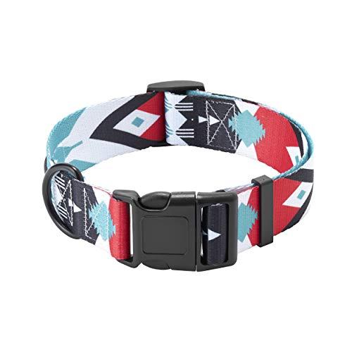 HAVNBERG Hundehalsband Gr. M Halsumfang 33,0cm – 51,0cm, breites Halsband für mittelgroße Hunde, Breite 2,5cm, schwarz, rot, türkis, weiß, Navajo Design