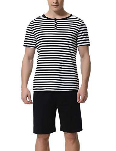Abollria Schlafanzug Herren Zweiteiliger Pyjama kurz Baumwolle Schlafanzüge Anzug...
