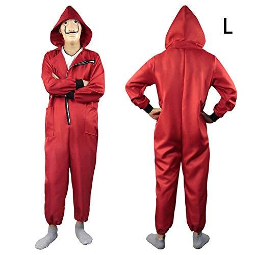 Sunronal Costume da Clown Adulto, Tuta con Cerniera Rossa per Cosplay di Halloween