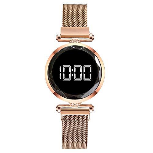 JZDH Relojes para Mujer LED Mujeres Magnéticas Pulsera Relojes Rose Oro Digital...