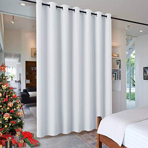 RYB HOME Room Divider for Space, Furniture Protect Ceiling to Floor Blackout Curtain Partition for Patio Sliding Glass Door/ Living Room / Locker Room, Width 100 in x Length 84 in, Greyish White