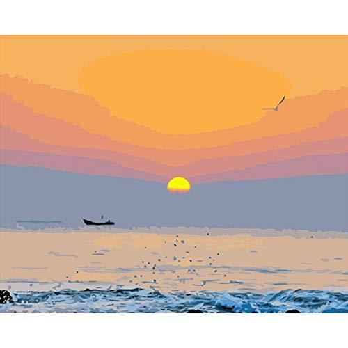ZXDA Pintura al óleo Pintada a Mano de Bricolaje Pintura por números para Adultos niños Pintura de Paisaje decoración del hogar A2 60x75cm