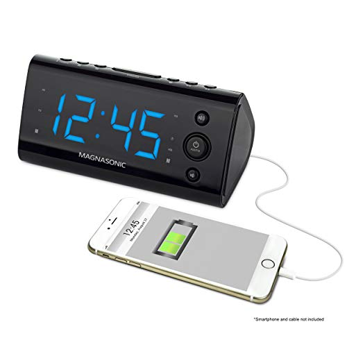 Magnasonic Alarm Clock Radio with USB Charging for Smartphones & Tablets Includes Dual Alarm, Battery Backup, Auto Time Set & 1.2' LED Display with 4 Dimming Options (EAAC470)