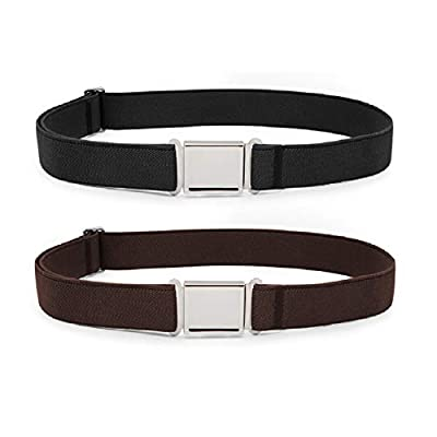 JASGOOD Kids Adjustable Magnetic Belts for Boys Girls Elastic Belt with Easy Magnetic Buckle(Black+Coffee,pant size 16-26Inch)