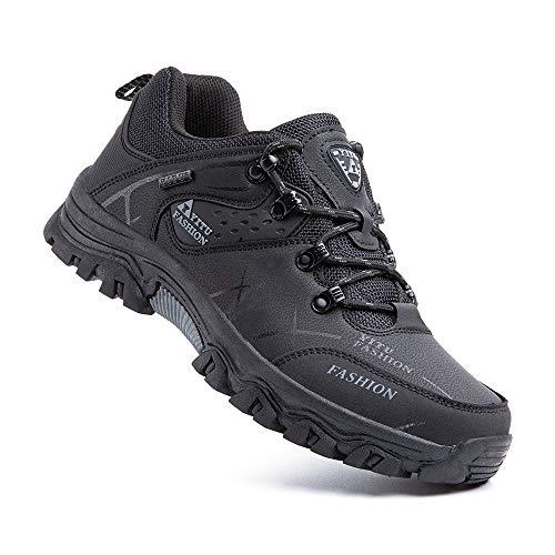 Zapatillas Trekking Hombre Antideslizantes Zapatos de Senderismo Transpirable Botas Montaña Bajas al Aire Libre 3 Negro 43 EU