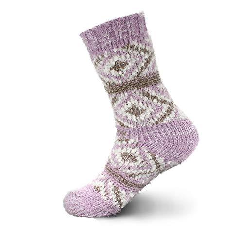 Womens Lavender Slipper Socks - Thick Vintage Sweater Patterned Cabin Crew Socks - Lavender Purple - Extra Large - 1 Pair