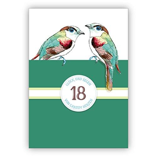 Klassieke verjaardagskaart voor de 18e verjaardag of turquoise bruiloft, 18 jaar huwelijk jubileum met vogels in groen: 18 geluk en zegen van het hele hart • ook directe verzending met tekst inlegger