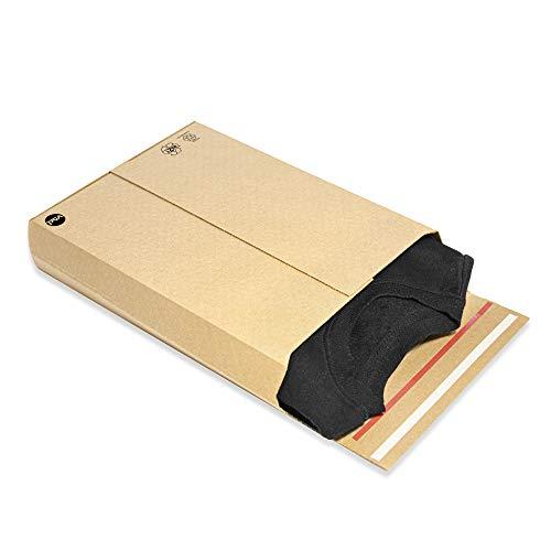 Cajas de cartón Kraft para envíos automontable, adaptable y resistente |313x251x70| Pack 25 unidades | Admite envíos postales y de ecommerce gracias a su forma de sobre con cierre autoadhesivo.