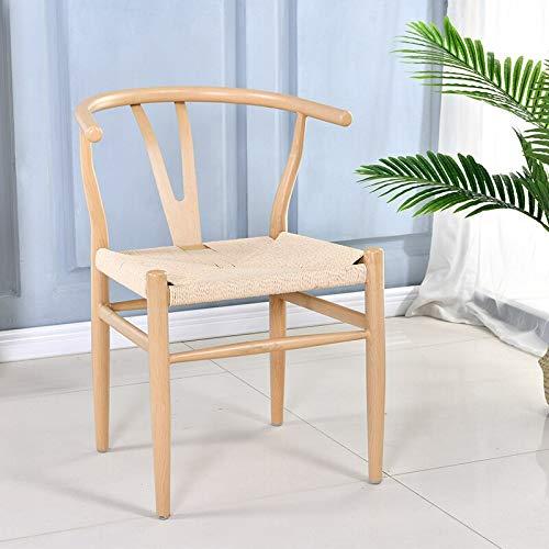 LIXUDECO Sillas de comedor nórdicas modernas y minimalistas para el hogar, respaldo de hierro forjado, silla de té, silla de comedor, muebles de cocina y respaldo (color: blanco asiento trenzado)
