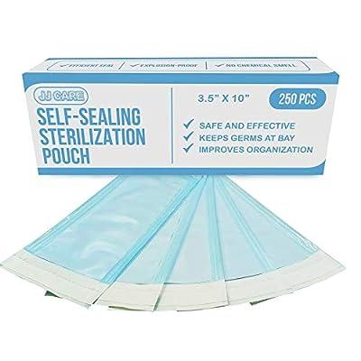 "[Upgraded] Sterilization Pouches 3.5"" x 10""Self-Sealing Dry Heat Sterilizer Pouches (Pack of 250) Autoclave Sterilizer Bags, Sterilizing Bags for Tattoo Salon Supplies, Dental Sterilization Pouches"