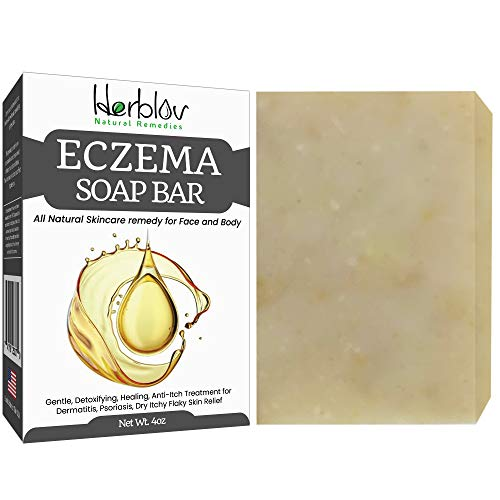 Herblov Eczema Face Soap Body Wash Bar – All Natural Psoriasis, Dermatitis Treatment for Dry Itchy Flaky Skin Relief – Gentle Detoxifying, Healing, Anti-Itch, Cleansing Skincare Remedy Made in USA