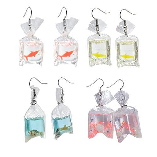 4 Pairs Funny Acrylic Goldfish Starfish Earrings Water Bag Shape Unique Resin Dangle Hook Earrings for Girls Women Bohemian Creative Charm Water Pouch Jewelry