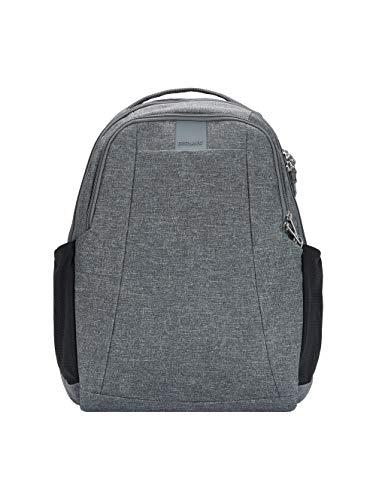 Pacsafe Metrosafe LS350 Nylon Rucksack mit Anti-Diebstahl Details für Damen und Herren, Daypack mit Diebstahlschutz, Tasche mit Sicherheits-Features, 15 L, Grau Meliert / Dark Tweed