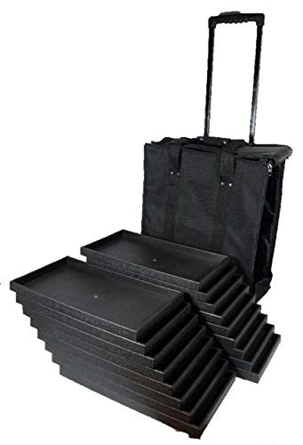 OSJS Canvas Rolling Salesman Travel Case with 17 Wood Sample Display Trays Organizer
