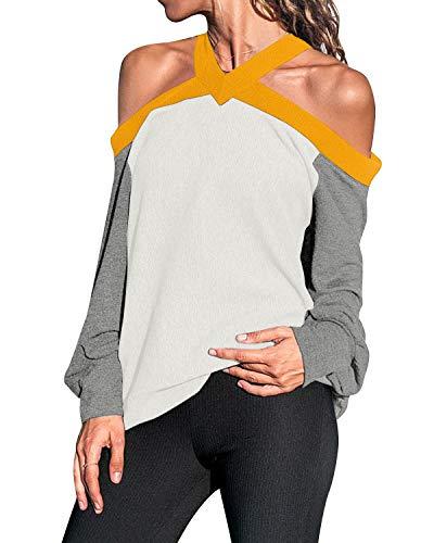 kenoce Camisetas Informales con Hombros Descubiertos para Mujer Cuello Redondo Manga Larga Túnica Tops Blusa Suelta de Bloques de Colores C-Blanco S