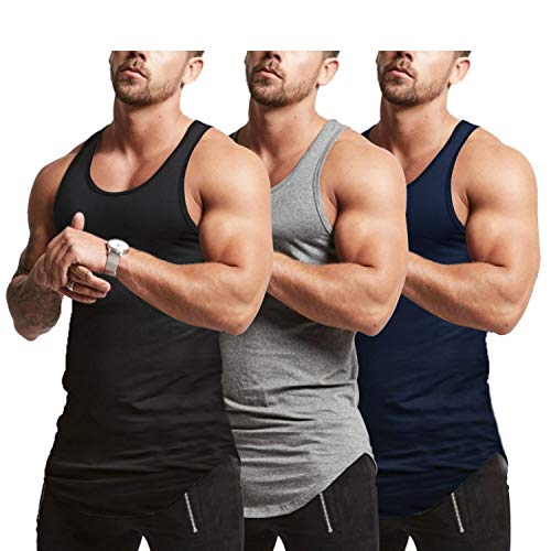 Mens Workout Stringer Tank Tops Fitness Performance Muscle Sleeveless Shirts Gym Training Bodybuilding Vest(NYGYBK L)