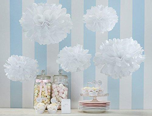 Orino8482; Pom Poms - 5pcs 2 Sizes Tissue Paper Flowers, Tissue Paper Pom Poms, Wedding Decor, Party Decor, Pom Pom Flowers, Tissue Paper, Tissue Paper Flowers Kit, Pom Poms Craft, Wedding Pom Poms, Pom Poms Decoration (White&Rice White)