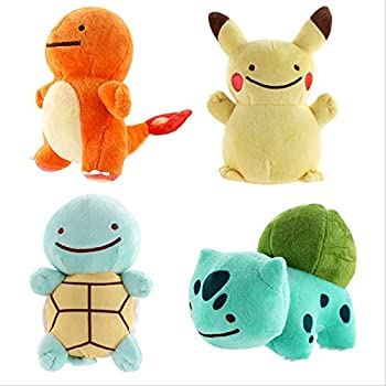 TSYGHP 4Pcs Cute Plush Toys Peluche Ditto Squirtle Bulbasaur Charmander Plush Doll Gifts for Children 15Cm Animal Toys