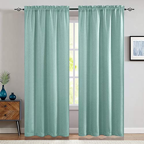 jInchan Room Darkening Curtains for Bedroom Living Room Thermal Insulated Linen Textured Window Treatment 2 Panels 84 Inch Aqua Blue