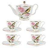YJF-MRY Set da tè in Porcellana Britannica da 9 Pezzi, Crisantemo Rosa Vintage E Servizio da caffè in Ceramica con Uccello Rigogolo Giallo, Servizio da tè per Matrimoni
