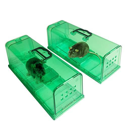 ALIFOR 2X Trampa para Ratones,Ratonera Ratas Vivos Trampa para Ratas Ratonera de Plástico Reutilizable para Cocina Jardín Hogar Cocina Ático Garaje (Verde)