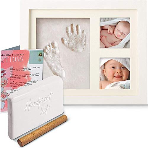 Baby Shower Gifts (azienda britannica) Kit di impronte del bambino e cornice per foto con cornice portafoto per neonati, idea regalo per neonato e bambina, personalizzabile