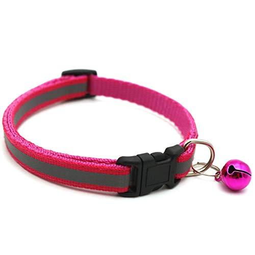 QWERTYU Verstellbare Nylon-Hundehalsbänder Haustierhalsbänder mit Glocken Charm Halskette Halsband für kleine Hunde Katzenhalsbänder Haustierbedarf, Rose Red, S.