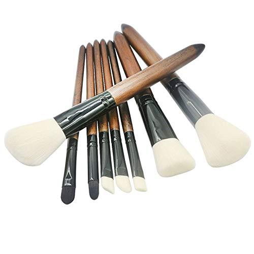 Pudincoco 8pcs Pinceaux de Maquillage Ensemble Manche En Bois Fibre Douce Poudre de Cheveux Fond de Teint Poudre Fard À Paupières Brosses Visage Maquillage Outils Pour Femmes (blanc)