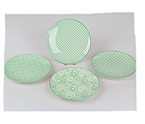 Formano Dessertteller Grün 22cm aus glasiertem Porzellan 1Teller Muster Sortiert