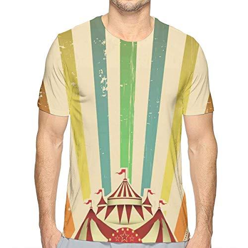 LLALUA Mens 3D Printed T Shirts,Old Circus Carnival Advertisement Theme Stripes Stars and Fun Fair Tent M