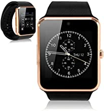 Bluetooth Smart Watch Touchscreen with Camera, EZone GT08 Unlocked Watch Cell Phone with Sim Card Slot, Smart Wrist Watch, Smartwatch for Android Samsung iOS iPhone Smartphones (Gold)