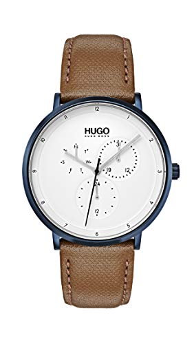 HUGO Herren Multi Zifferblatt Quarz Uhr mit Leder Armband 1530008