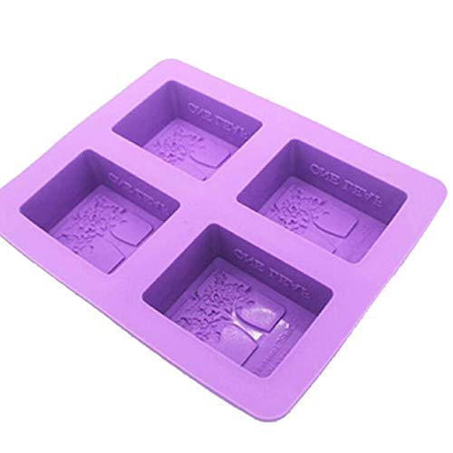 4 Cavity Silicone Mold Tree Shape Soap Mold 3D Plain Soap Mold Rectangle DIY,purple