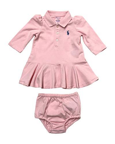 Ralph Lauren Vestido de polo de malla de manga larga de algodón elástico para bebé - rosa - 24 meses