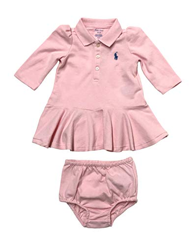 Ralph Lauren Baby Stretch Cotton Mesh Polo Dress (Hint of Pink, 3 Months)