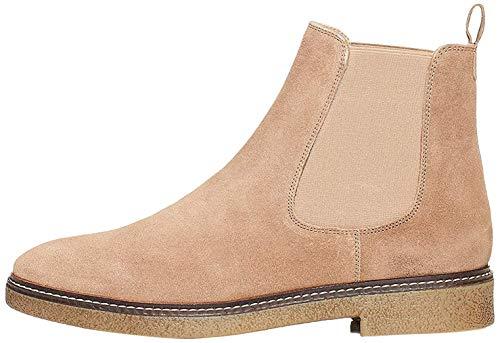 Amazon-Marke: find. Damen Chelsea Boots aus Glattleder, mit Kreppsohle, Grau Taupe), 40 EU