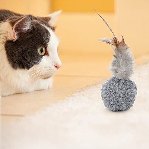 Kattenspeelgoed, 12 stuksDraagbare pluche bal met veer en kattenkruid als speelgoed witgrijs voor huisdieren