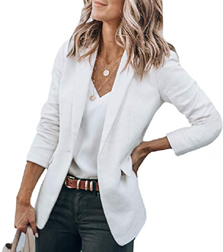 Cicy Bell Womens Casual Jackets Open Front Long Sleeve Work Office Outerwear Coats Blazer (Cream/Off White,X-Large)