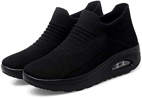 Women's Walking Shoes Sock Sneakers Slip On Breathable Lady Girls Fashion Loafers Black