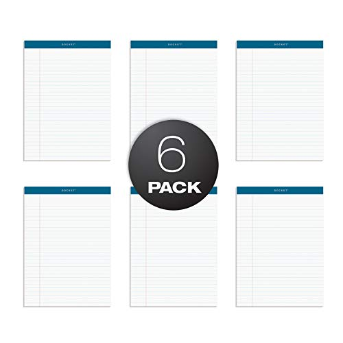 TOPS Docket Writing Tablet, 8-1/2 x 11-3/4 Inches, Perforated, White, Legal/Wide Rule, 50 Sheets per Pad, 6 Pads per Pack (63416) 50 Sheet White Pad