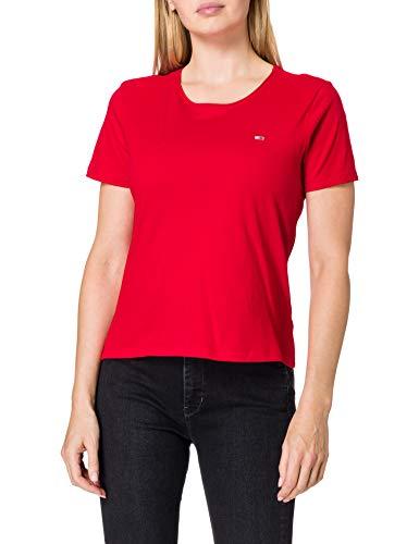 Tommy Jeans Tjw Slim Jersey C Neck Camiseta, Carmesí Profundo, M para Mujer