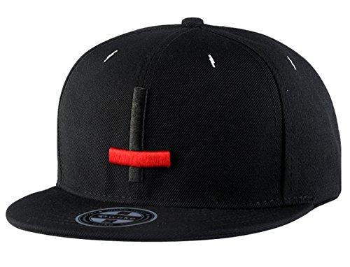 Aivtalk - Negra Gorra de Béisbol Unisex Sombrero Plano con Bordado de Cruz Accesorios para Hombre Mujer Parejas Hip Hop Snapback